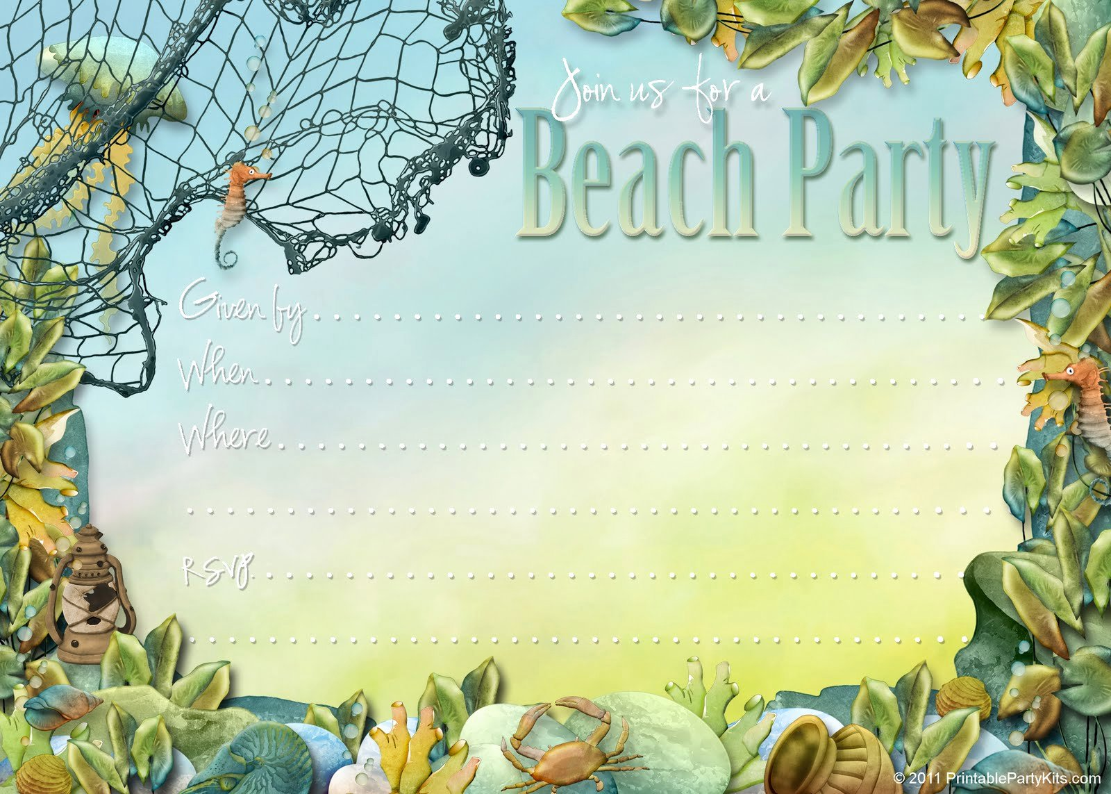 Party Planning Center Free Printable Beach themed Party