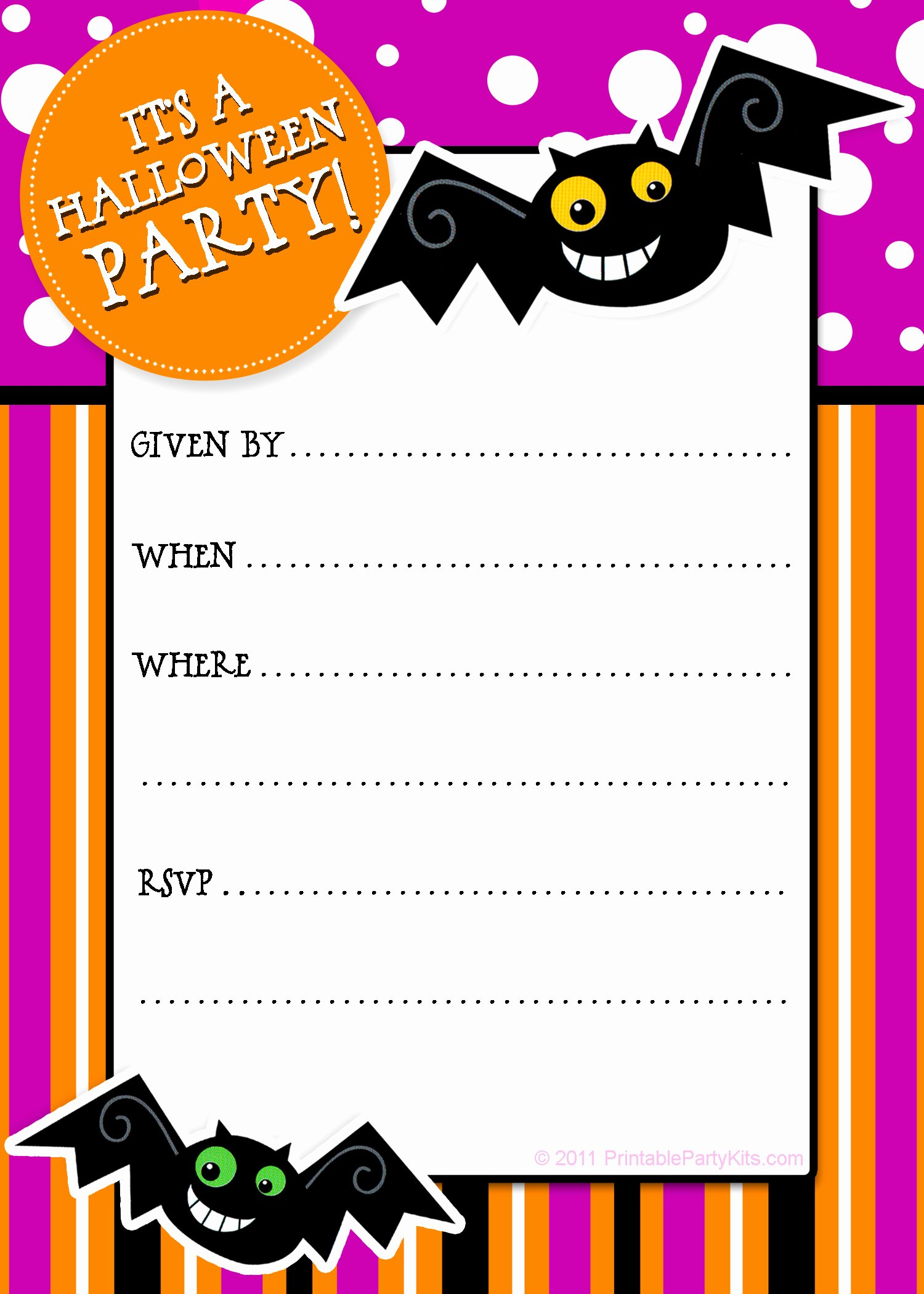 Party Planning Center Free Printable Halloween Invitations