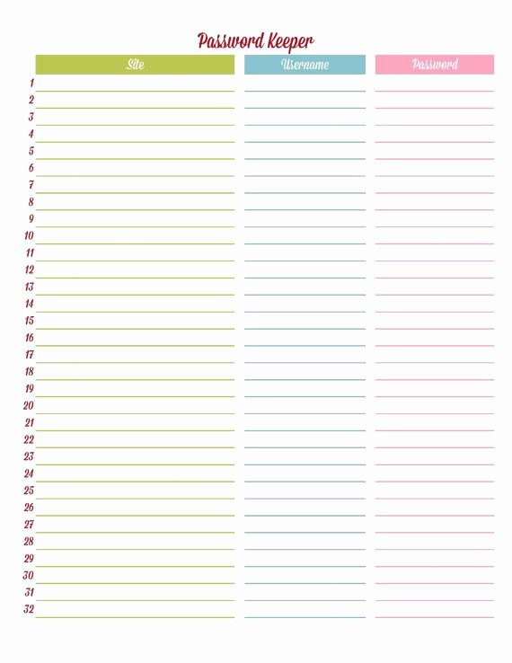 Password Tracker Editable Printable Pdf Instant by