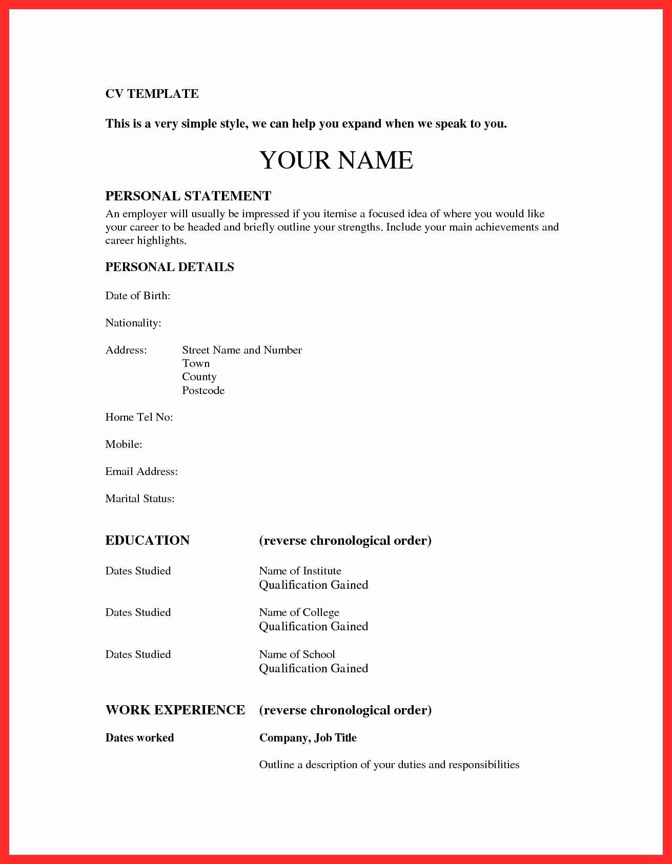 Paste Resume format