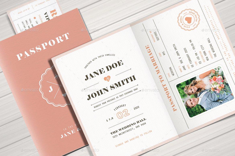 Pastel Passport Wedding Invitation by Vector Vactory
