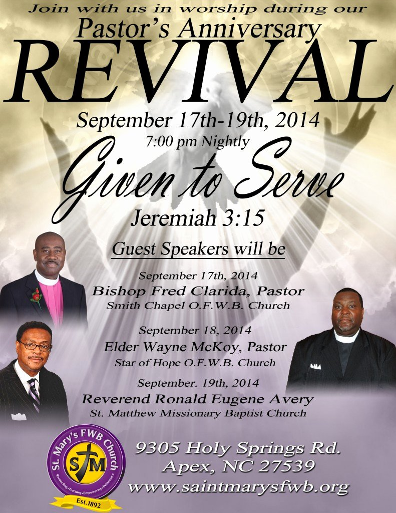 Pastor's Anniversary Revival at St Mary's F W B Church