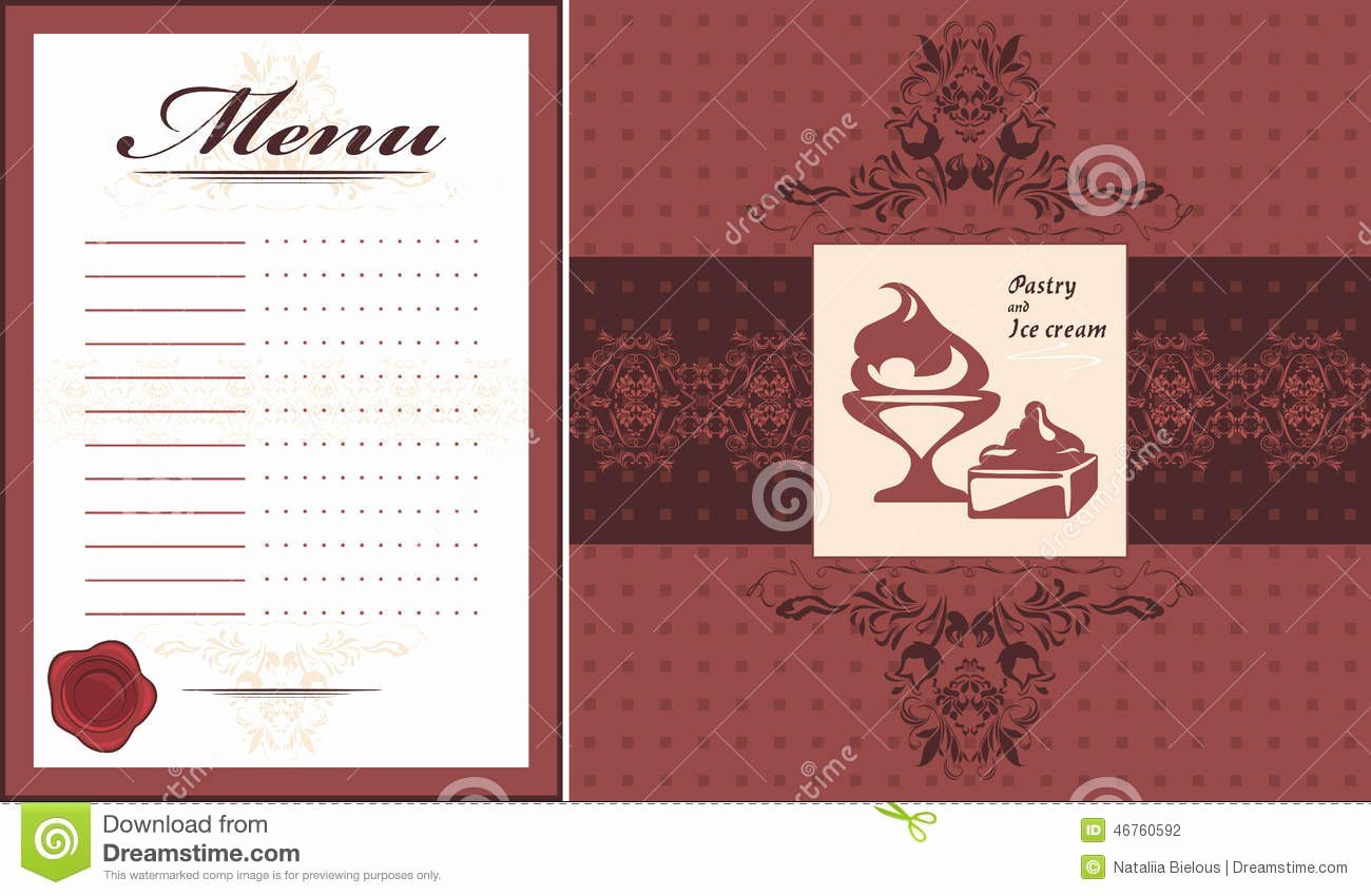 Pastry and Ice Cream Menu Card Template and Label for