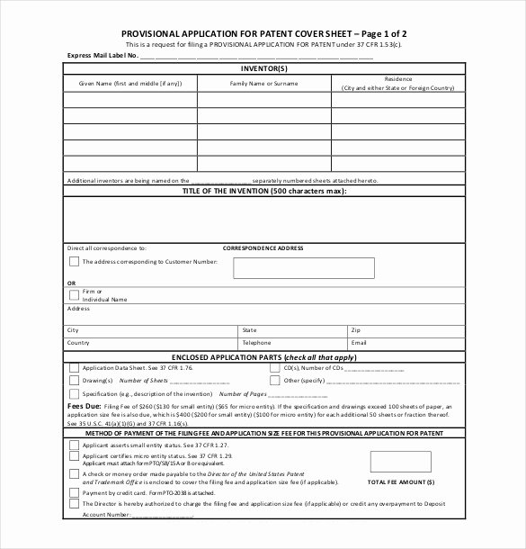 Patent Application Template – 12 Free Word Pdf Documents