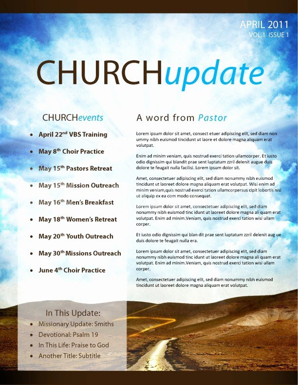 Pathway Church Newsletter Template Template