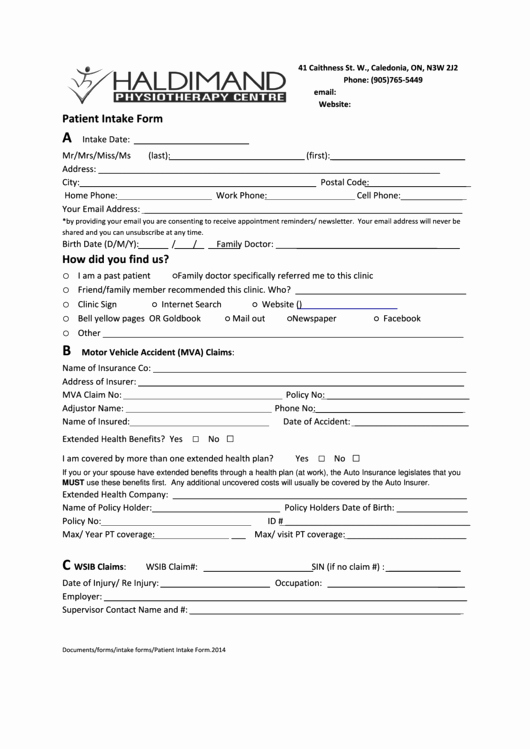 Patient Intake form Printable Pdf