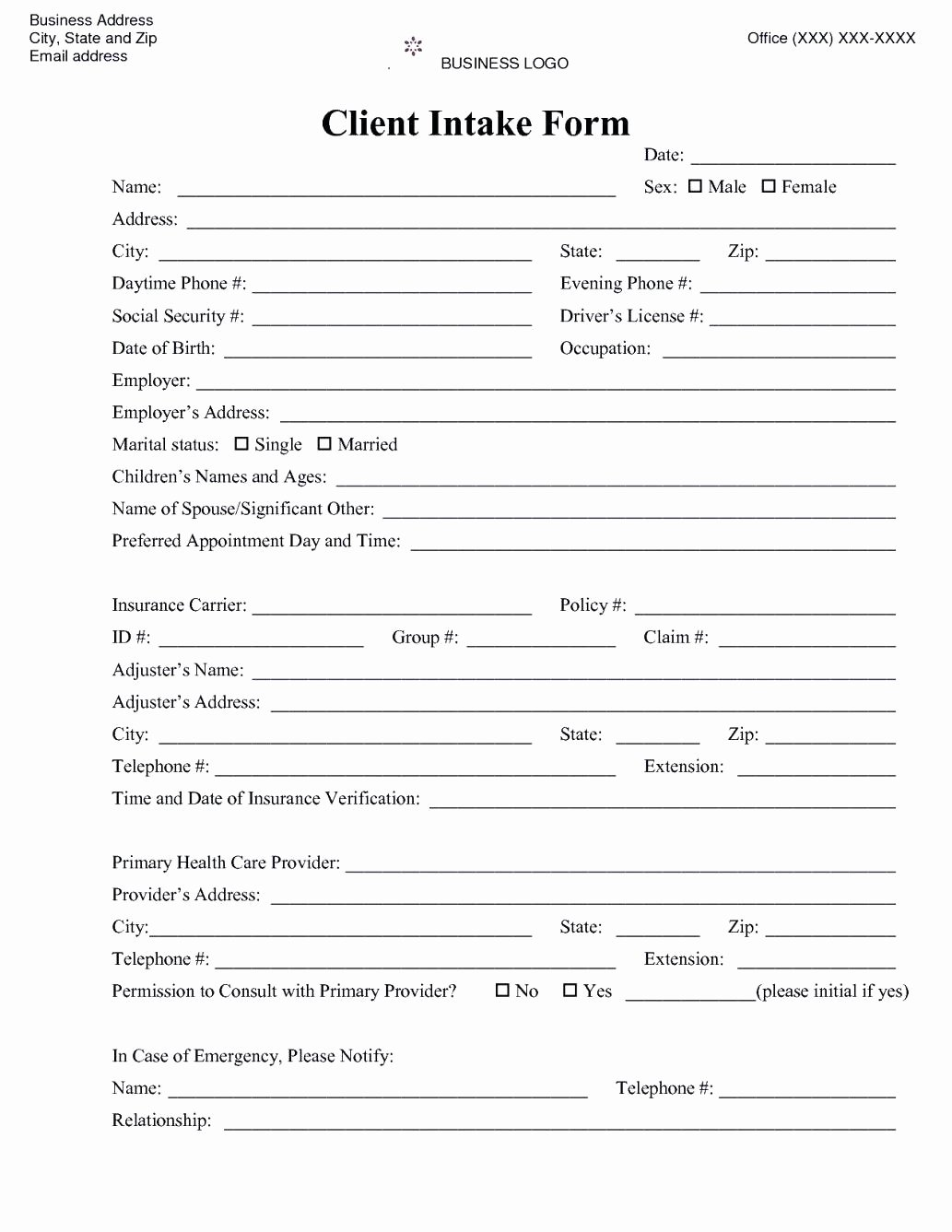 Patient Intake form Template Excel Joselinohouse