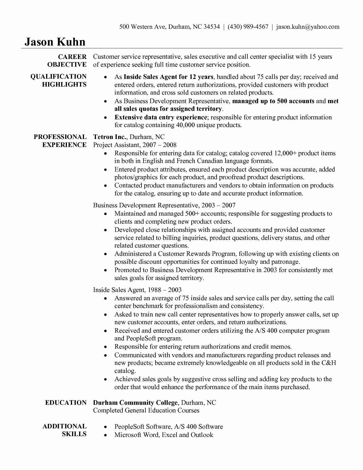 Patient Service Representative Resume Template