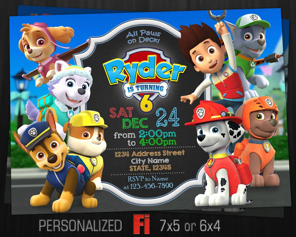 Paw Patrol Invitation Paw Patrol Birthday Party Paw Patrol