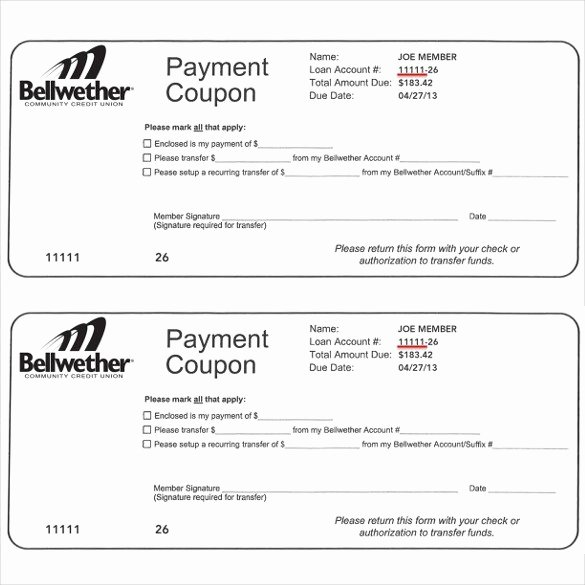 Payment Coupon Template Free Download 20 High School