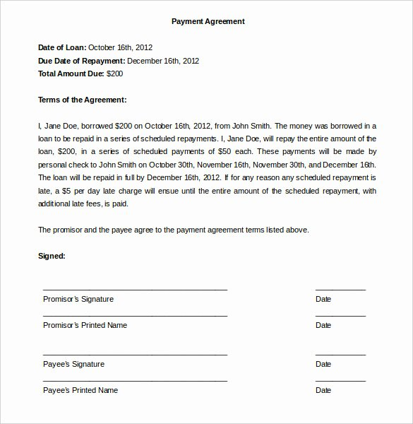 Payment Plan Agreement Template 12 Free Word Pdf