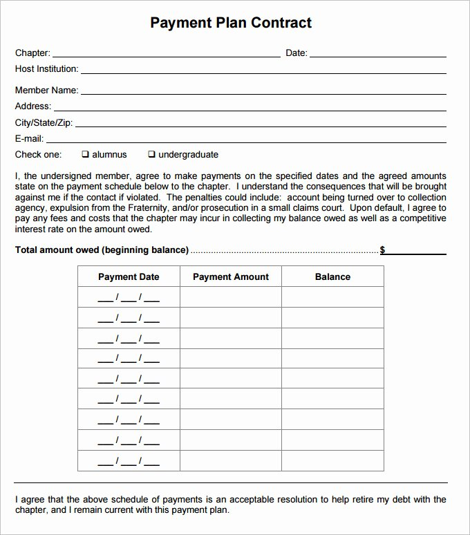 Payment Plan Agreement Template – 21 Free Word Pdf