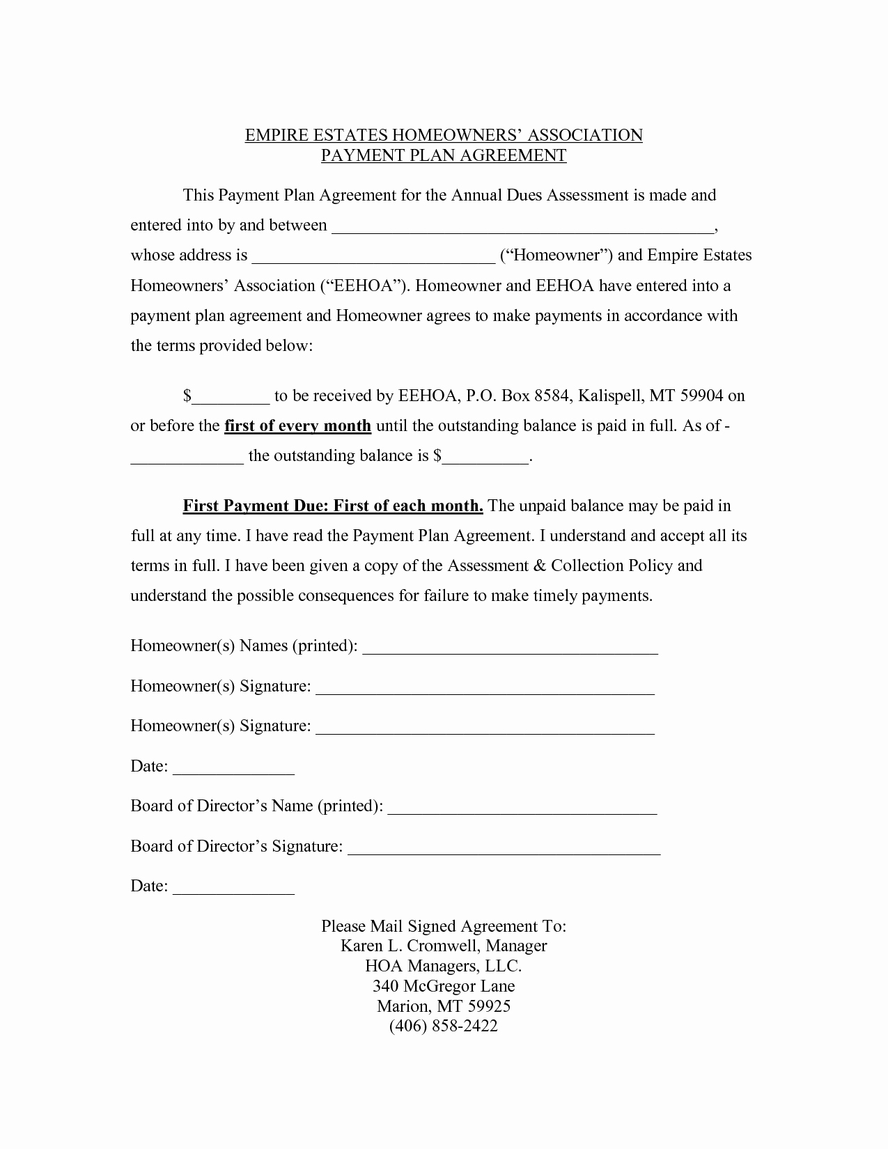 Payment Plan Agreement Templates
