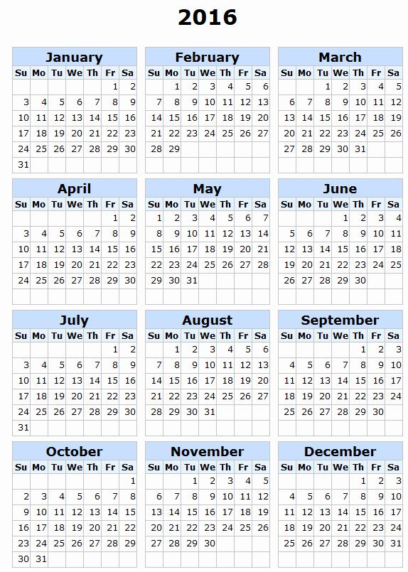 Payroll Calendar 2016 Template