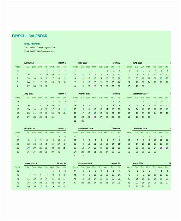 Payroll Calendar Template 10 Free Excel Pdf Document