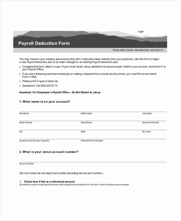 Payroll Deduction form Template 10 Free Sample Example