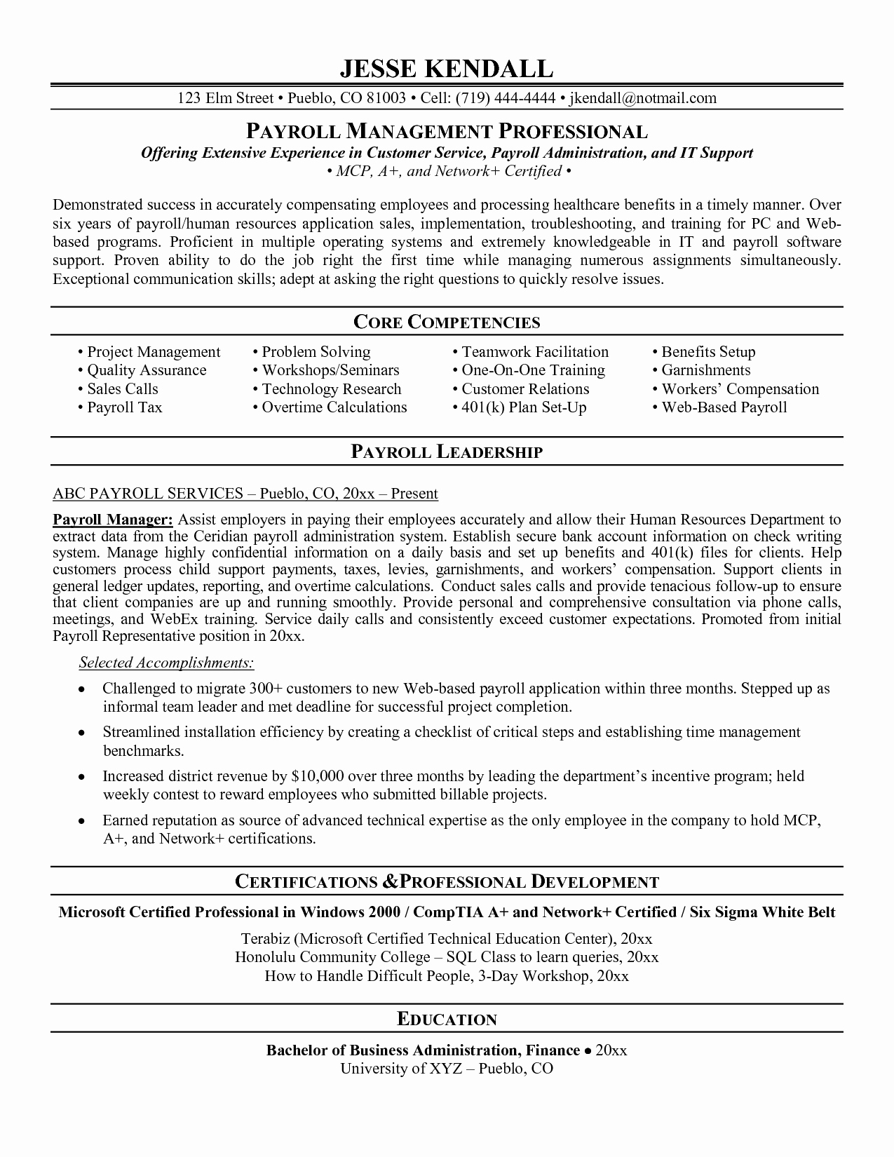 Payroll Manager Resume