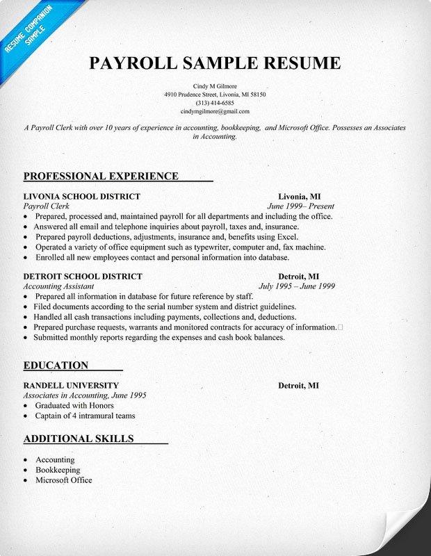 Payroll Resume Sample Resume Panion