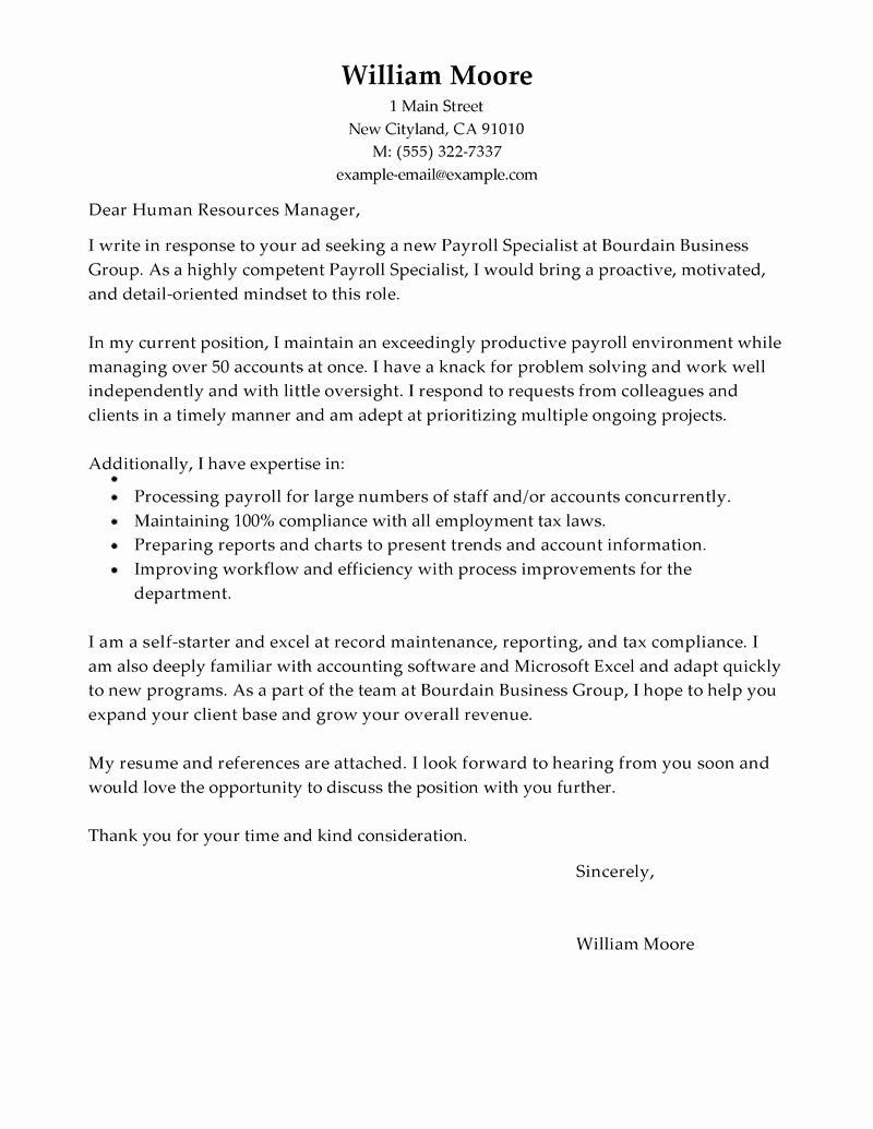 Payroll Specialist Cover Letter Sample My Perfect Cover
