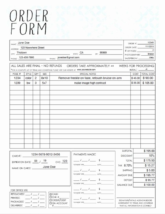 Pdf General Graphy Sales order form Template