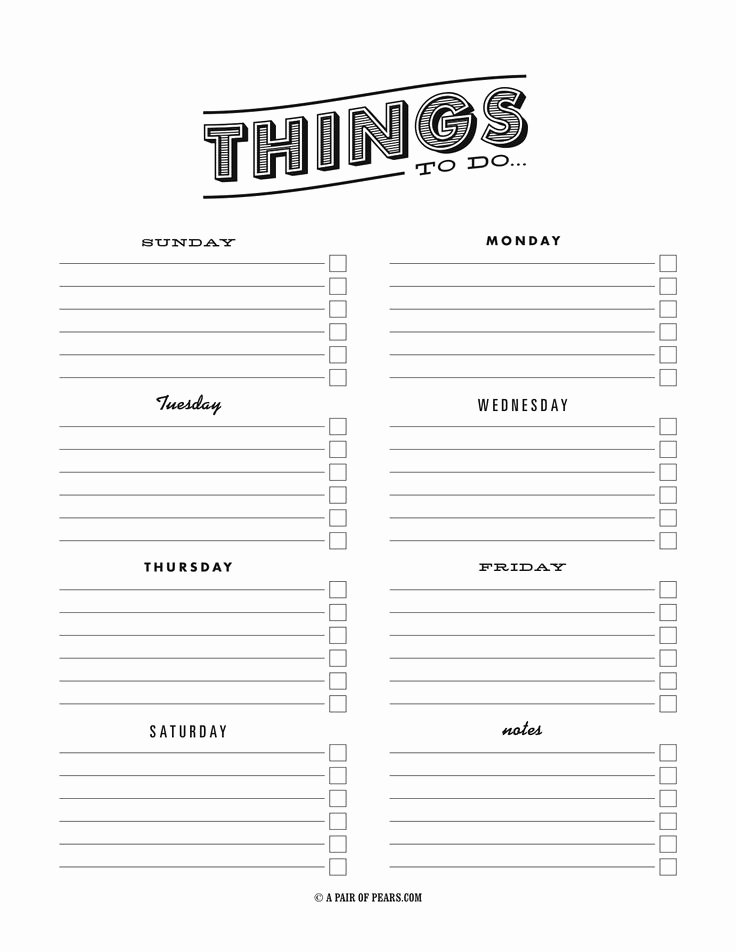 Pdf to Do List Templates