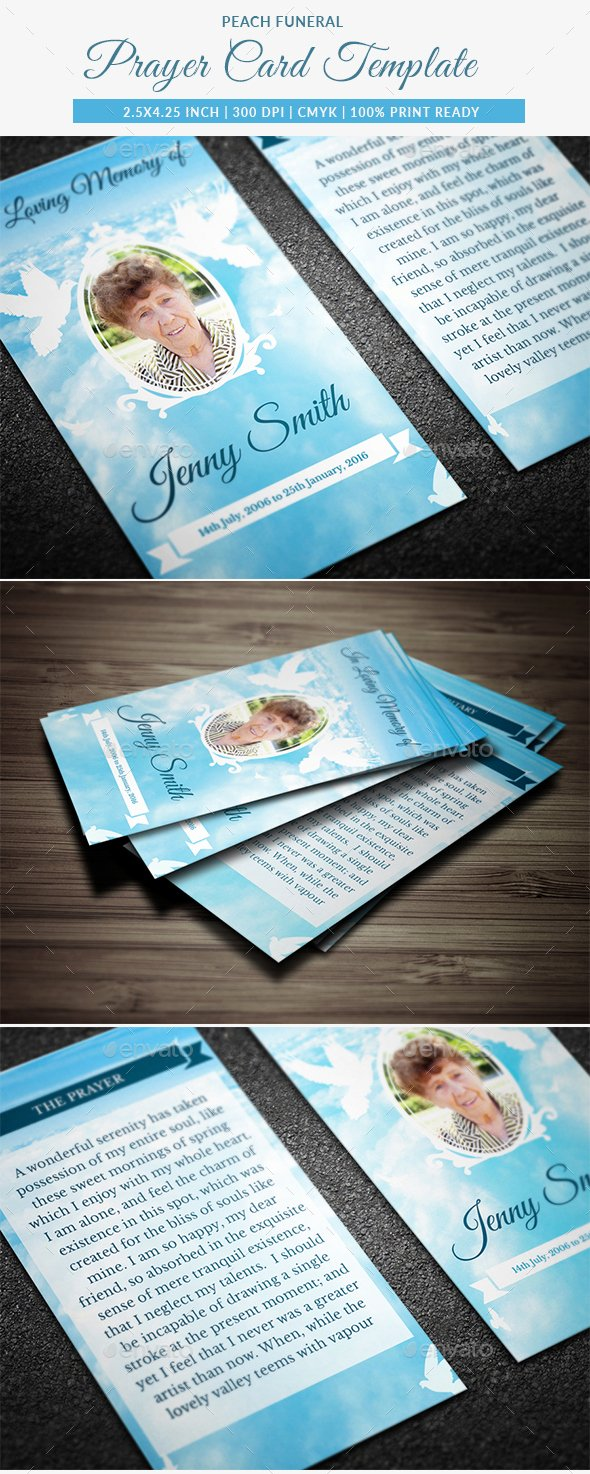 Peace Funeral Prayer Card Template by Creativesource