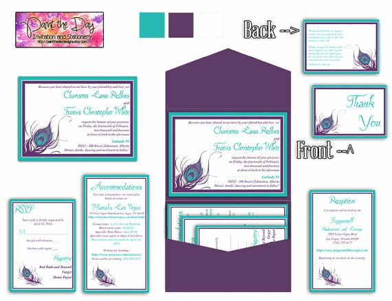 Peacock Feather 5x7 Wedding Pocketfold From