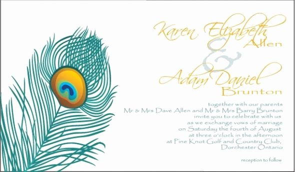 Peacock Feather Invitation Template