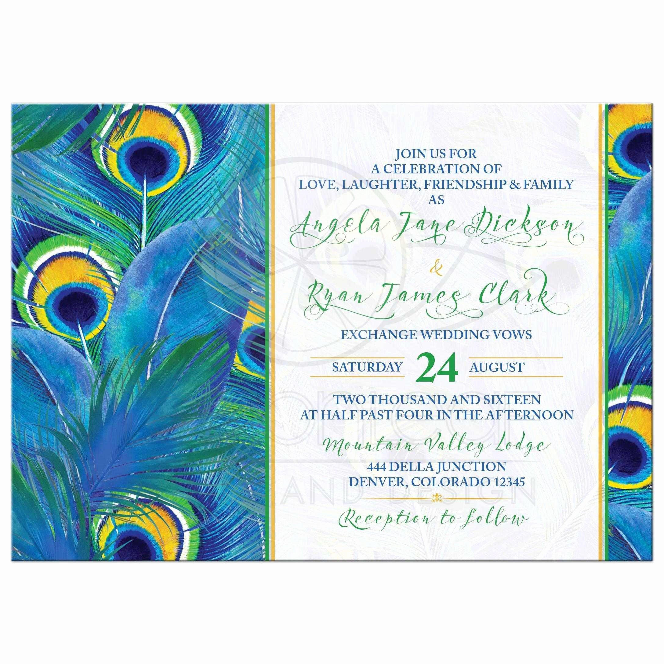 Peacock Invitation Cards Peacock Wedding Invites Etsy