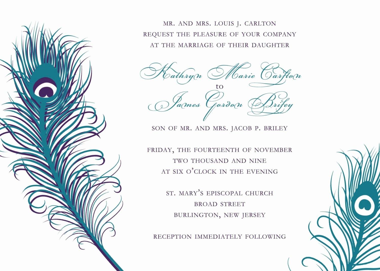 Peacock Wedding Invitations Templates