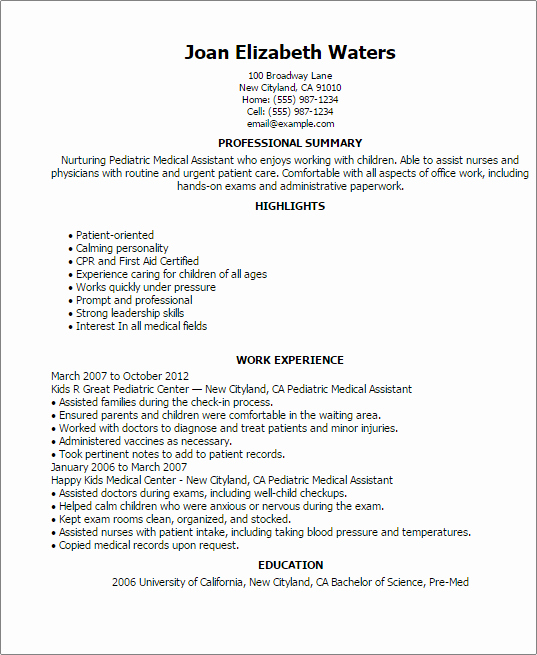 Pediatric Medical assistant Resume Template — Best Design