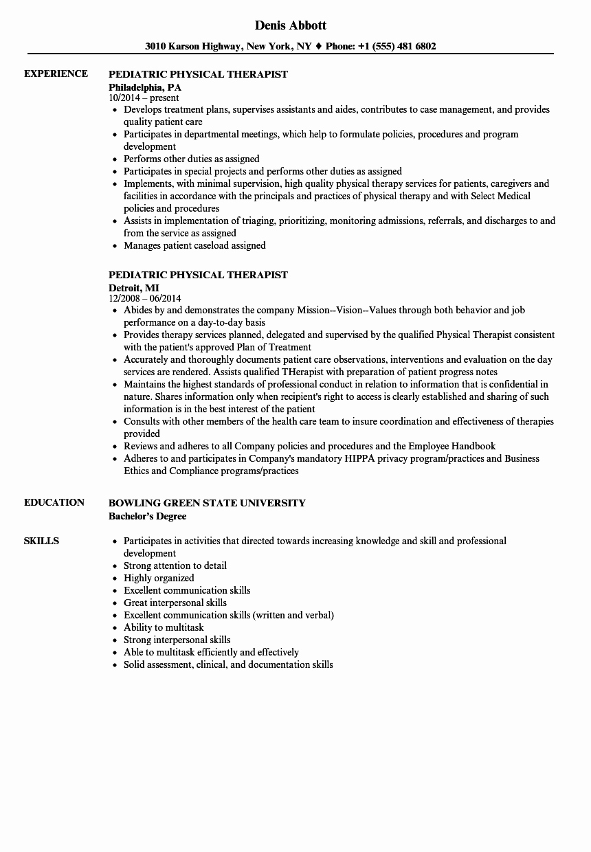 Pediatric Physical therapist Resume Samples