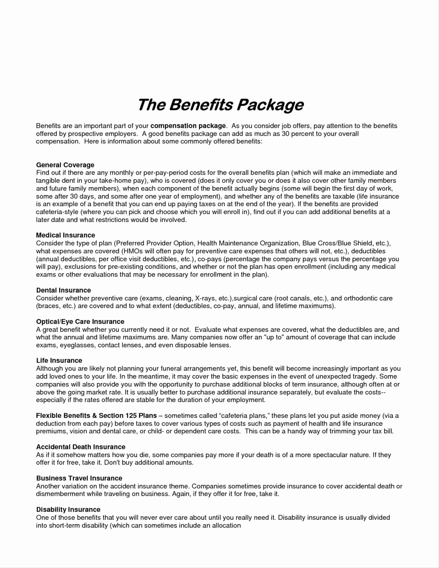 Pensation Package Template Free Templates Ideas
