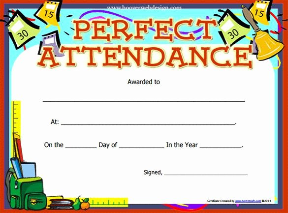 Perfect attendance Certificate