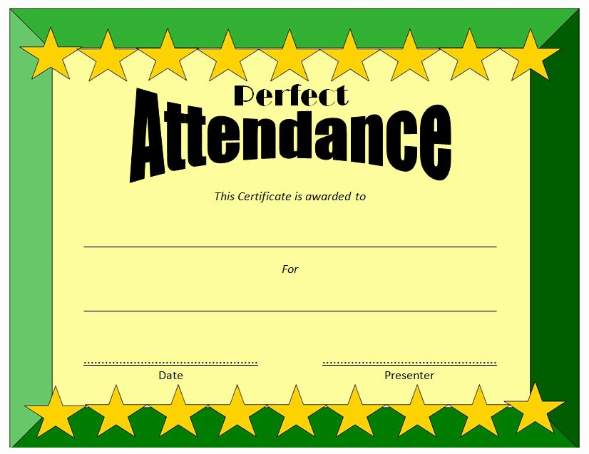 Perfect attendance Certificate Template 1 – the Best