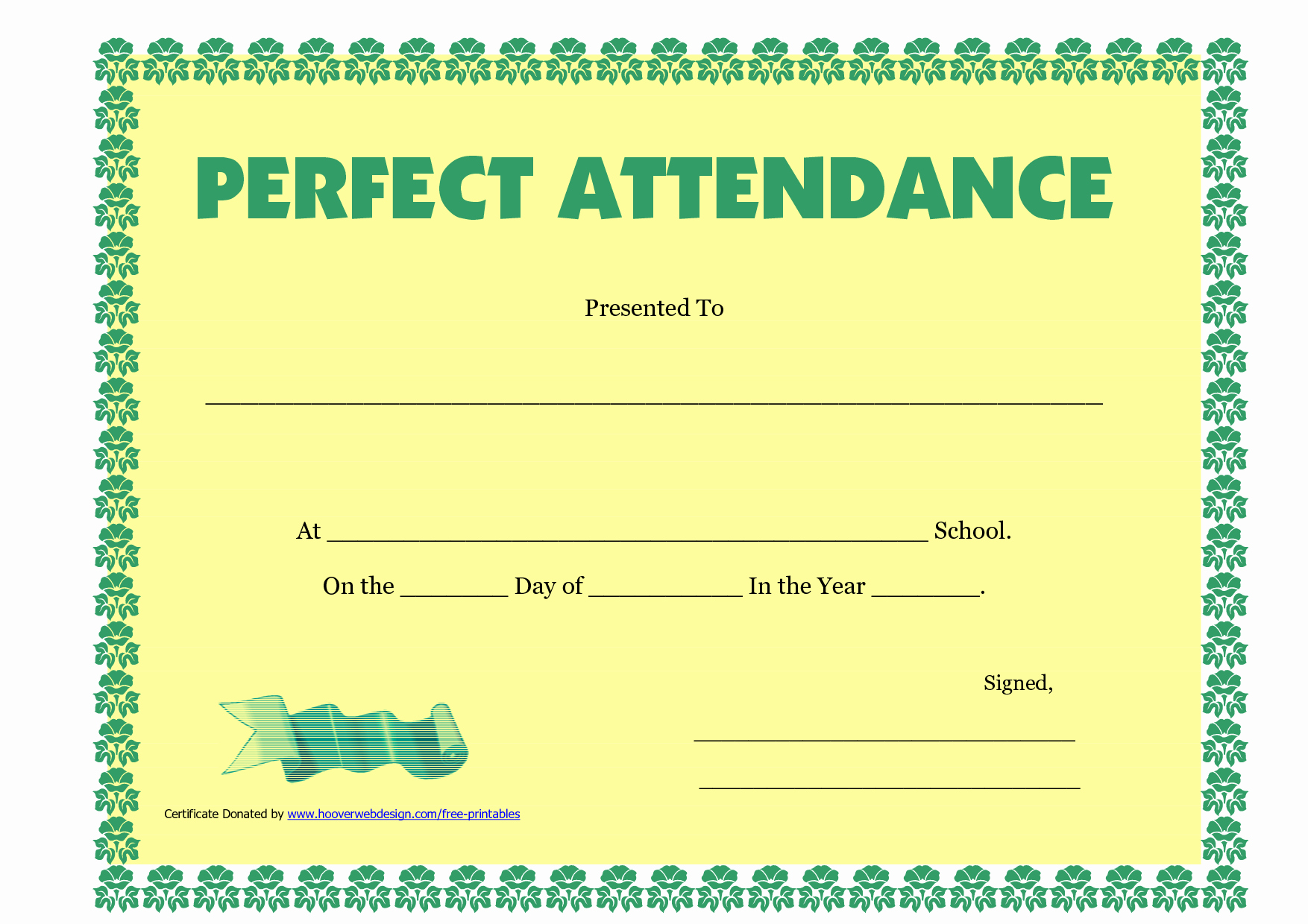 Perfect attendance Certificate Template Bamboodownunder