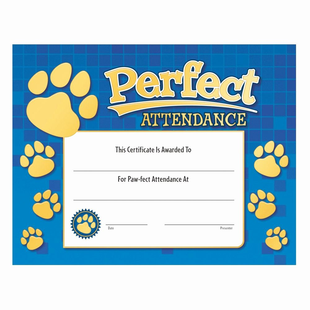 Perfect attendance Paw Design Gold Foil Stamped Certificate