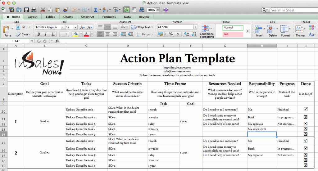 Perfect Business Action Plan Template Example In Excel