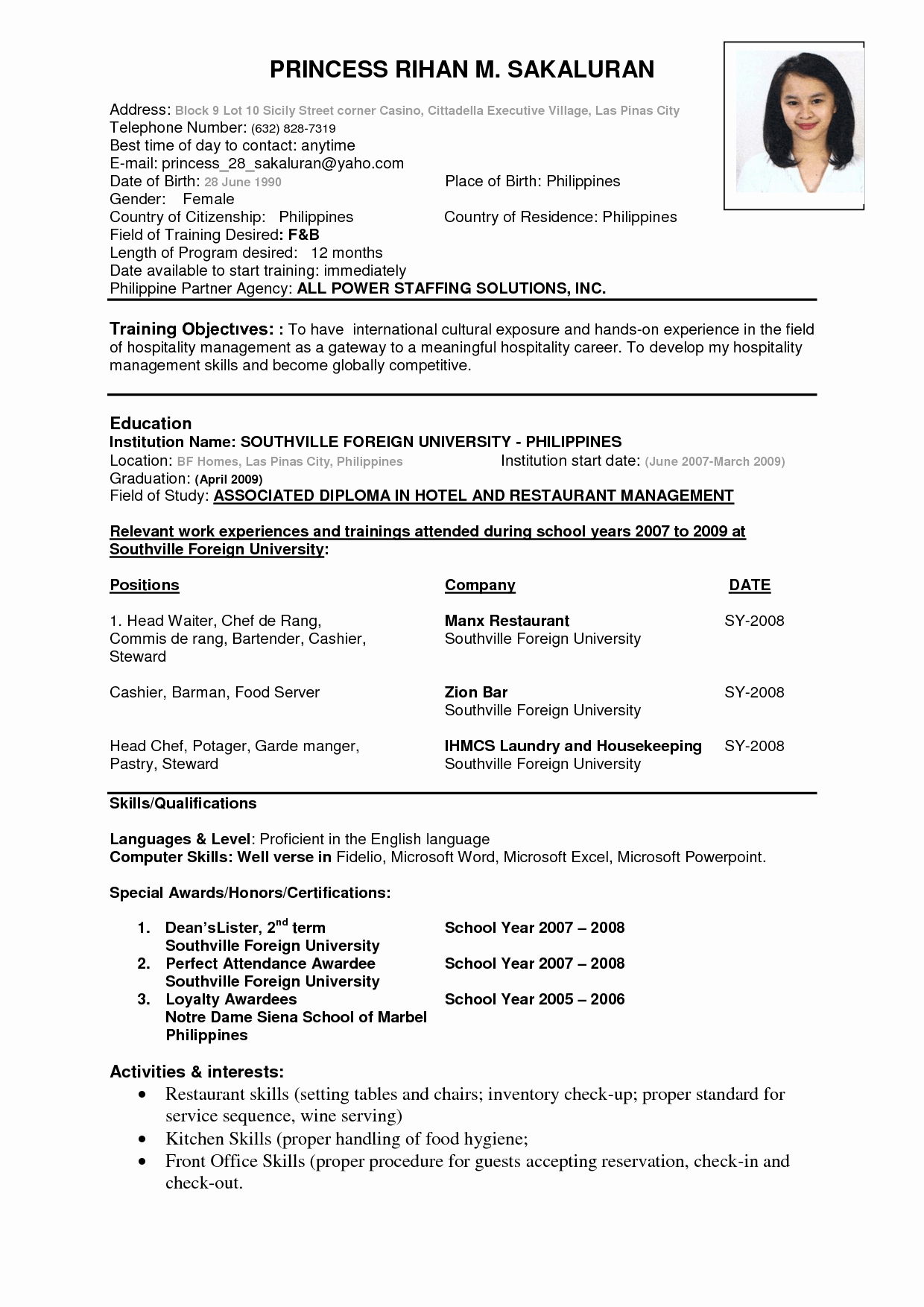 Perfect Job Resume format A Perfect Resume Professional