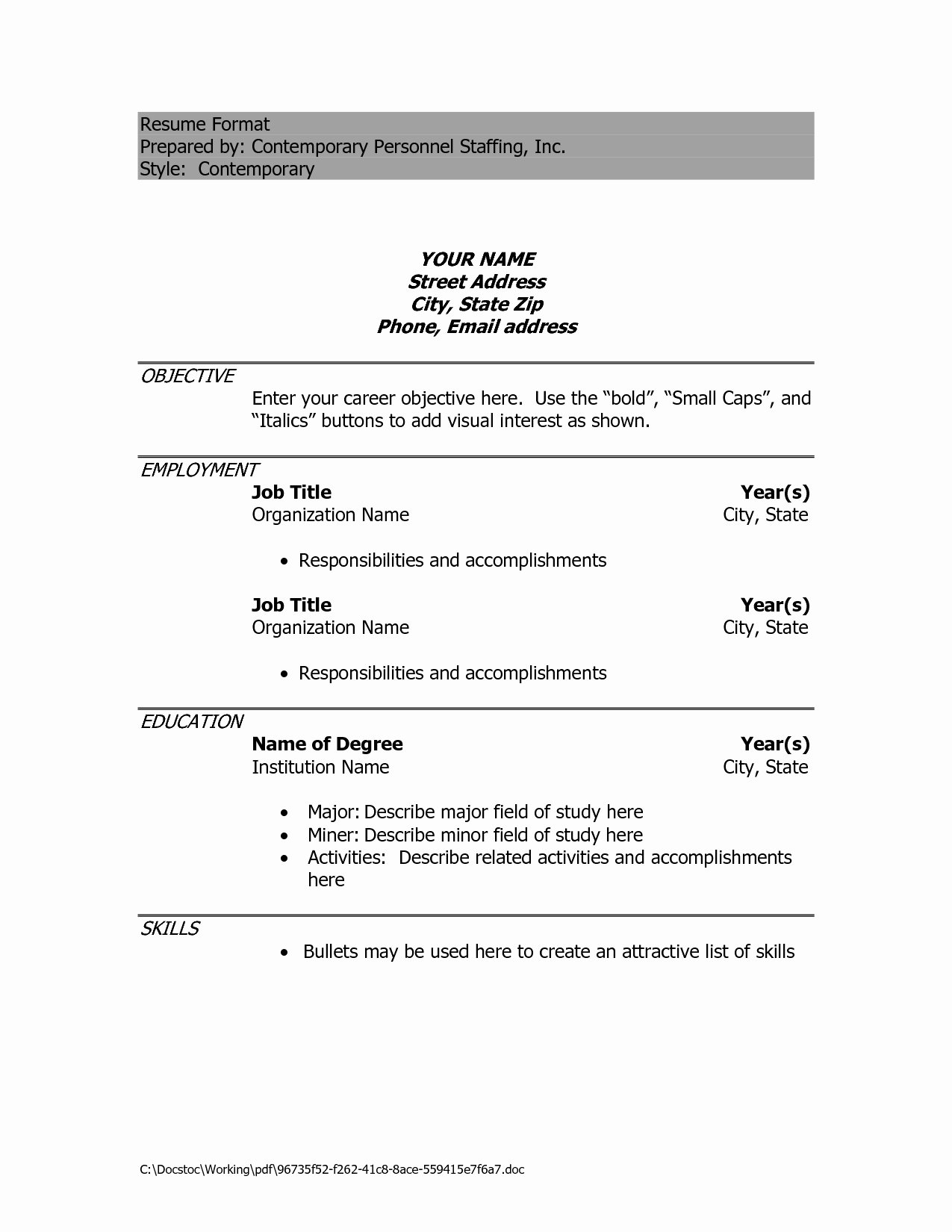Perfect Latest Resume format Doc Download In Resume