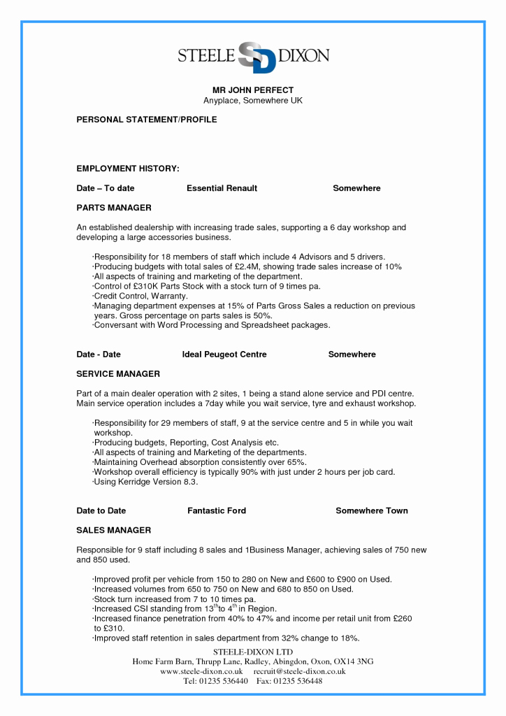 Perfect Resume Resume Cv Example Template