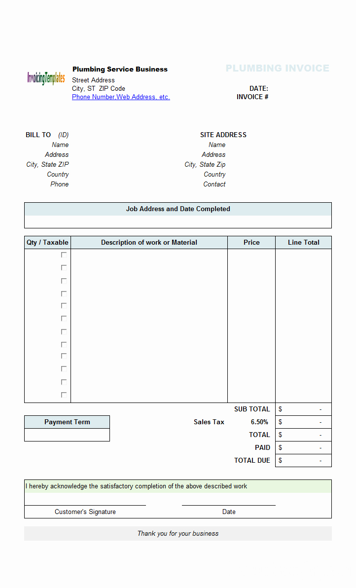 Perfect Sample Of Plumbing Service Billing Invoice form