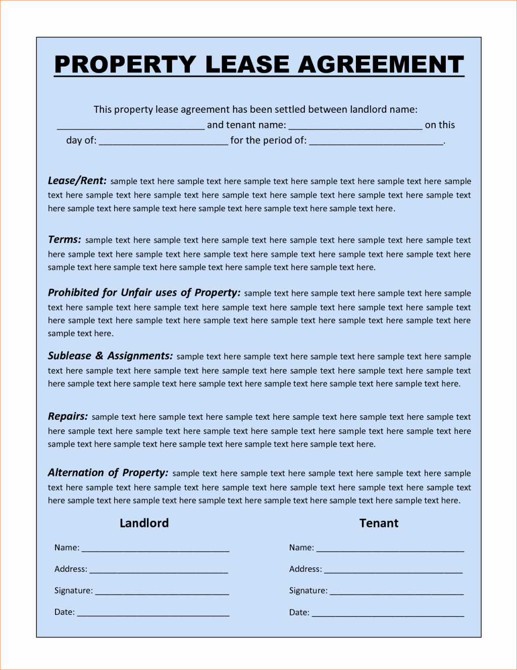 Perfect Sample Of Property Lease Agreement Template