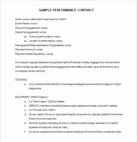 Performance Agreement Template Entertainment Contract