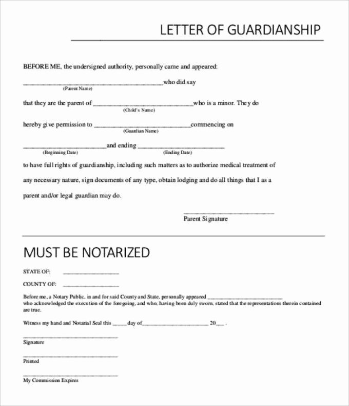 Permanent Guardianship Letter Template Canada