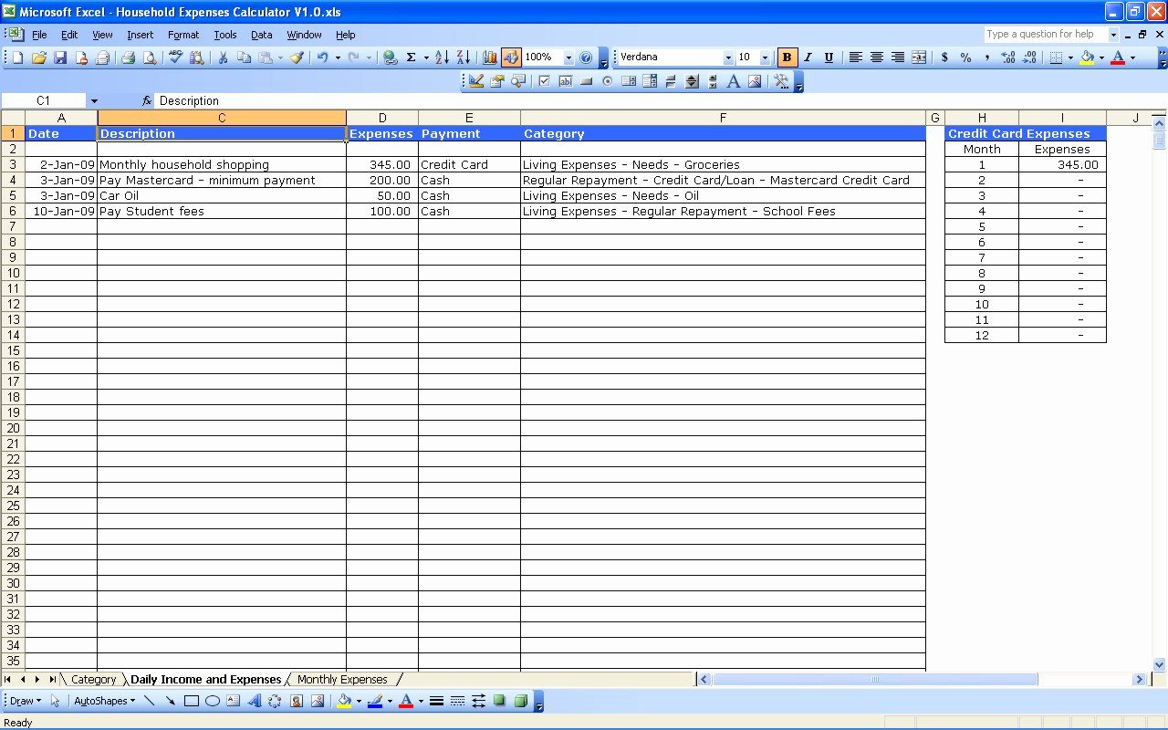 Personal Accounting Spreadsheet Template Spreadsheet