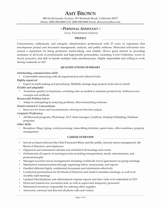 Personal assistant Resume Examples Resume Sample Family