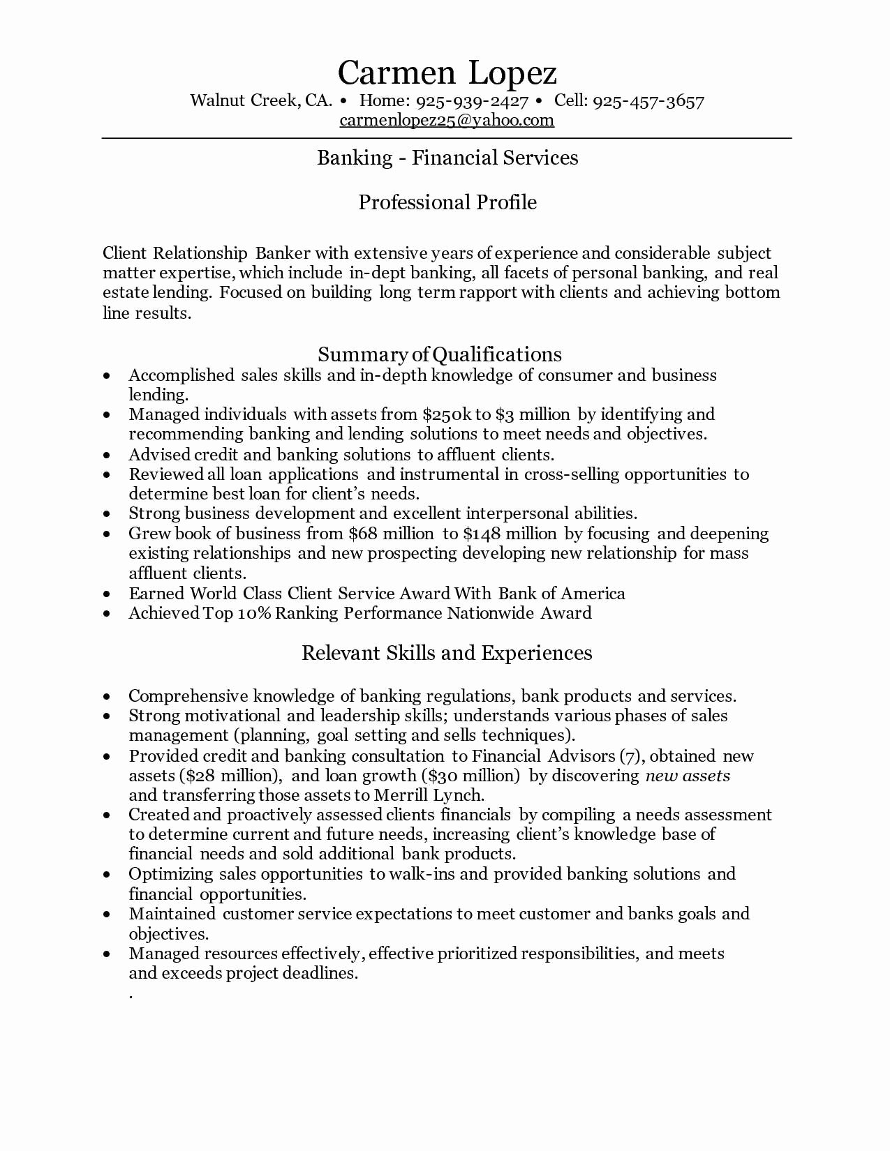 Personal Banker Resume Personal Banker Resume Sample