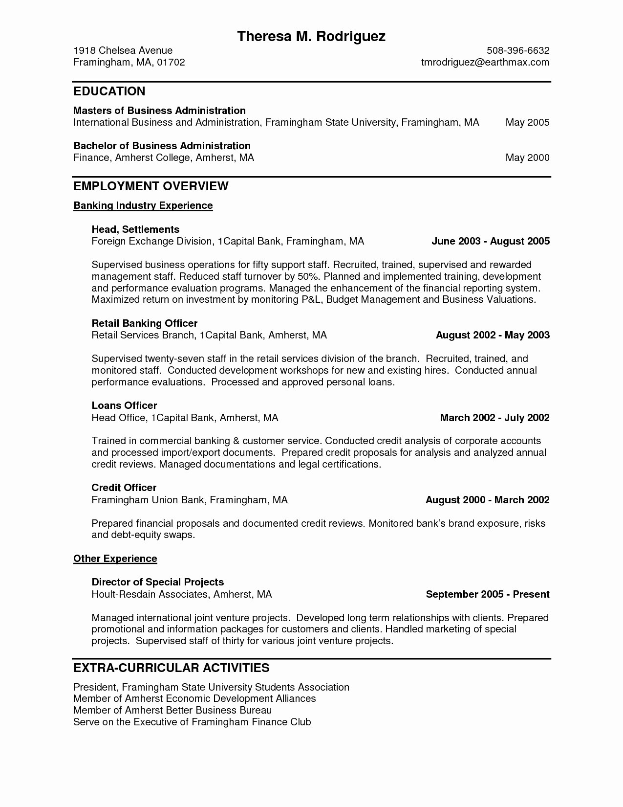 Personal Banker Resume Sample