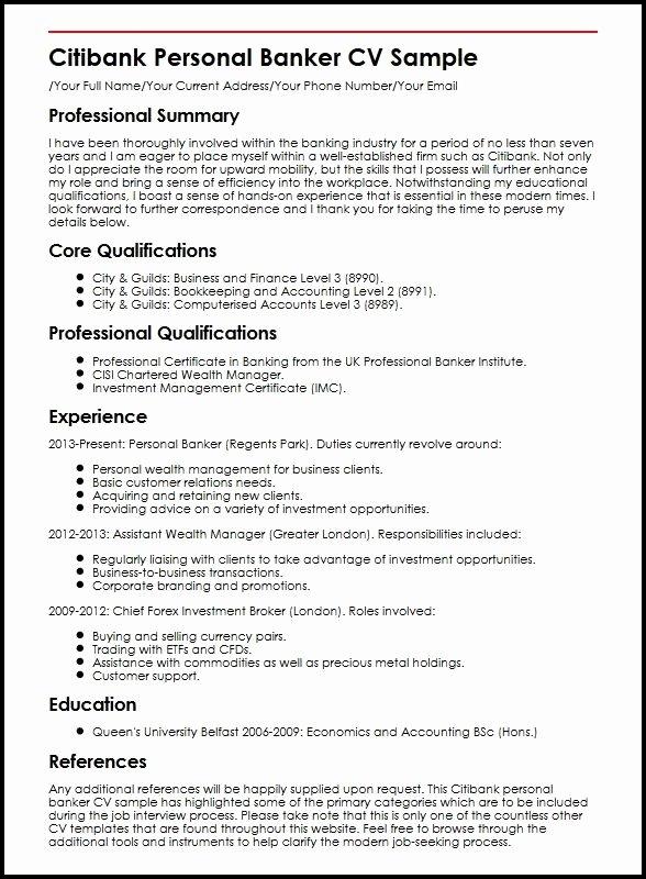 Personal Banker Resume Sample